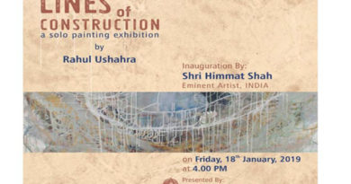 LINES of CONSTRUCTION a solo painting exhibition by Rahul Ushahra, On 18 to 21 January, 2019